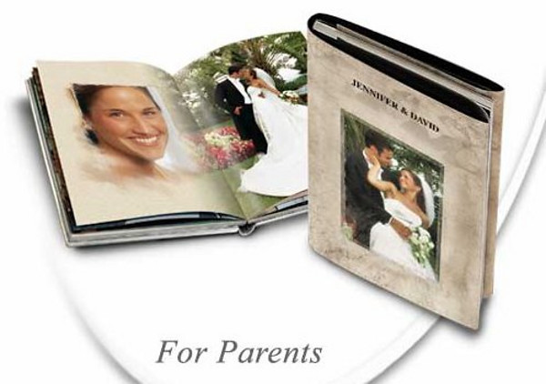 Parent Books with hardcover and jacket paper sleeve is an exact copy of your main album in a smaller size.