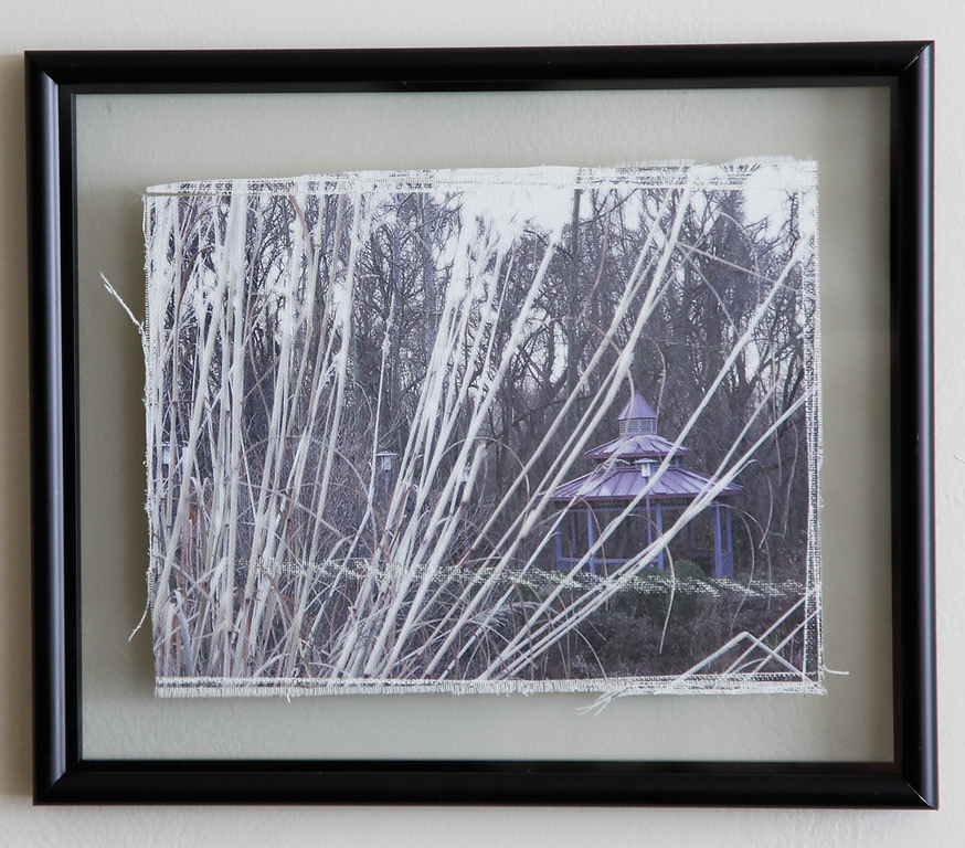 Aged canvas print, framed between two pieces of glass. Appears floating between frame and the wall.<br /> Can be printed in color, black and white, and sepia toning.