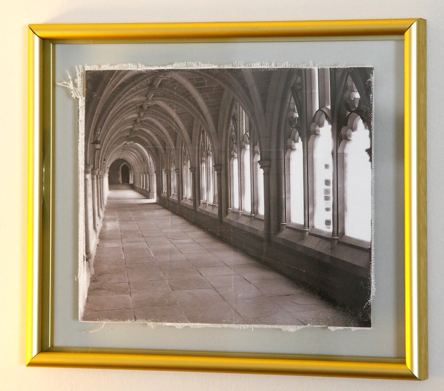 """Aged canvas print in 1"""" thick aluminum frame.<br /> Choices of different frame colors."""