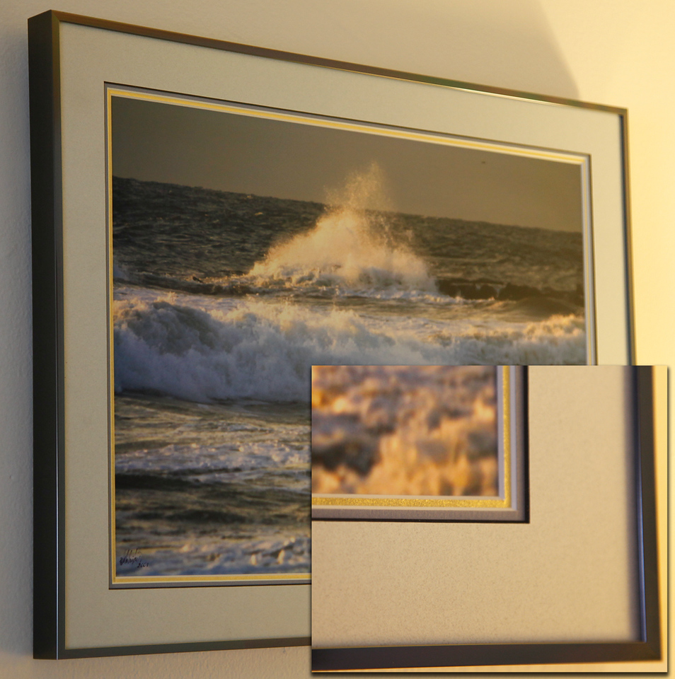 Double and triple matting is available.<br /> Wood or Aluminum frames.<br /> Framed under glass.