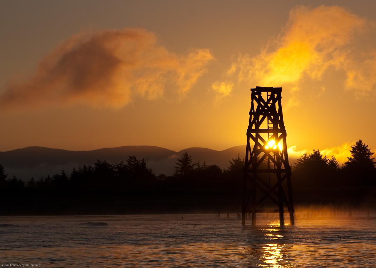 "Tower at Dawn. Ilwaco, WA; Sturgeon charter. <a href=""http://www.seabreezecharters.net/"">http://www.seabreezecharters.net/</a>"