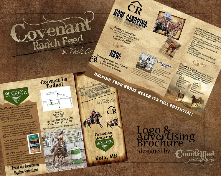 Logo & Brochure designed for Covenant Ranch Feed & Tack Co.~2012