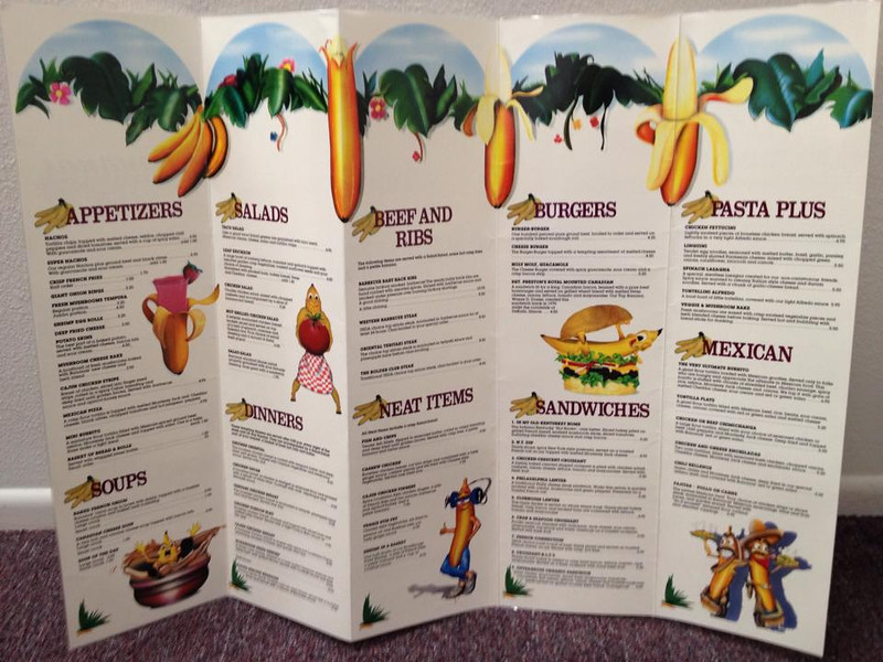Banana's menu inside (found by Dale Basescu, thanks)