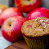 Fresh baked red apple cinnamon muffins