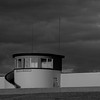 The lifeaguard station in Bundoran, Donegal.  Ireland.  Blakc and white.