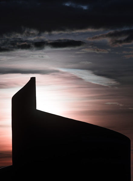 Silhouette image of Sea Shell building in Bundoran.  Donegal, Ireland.