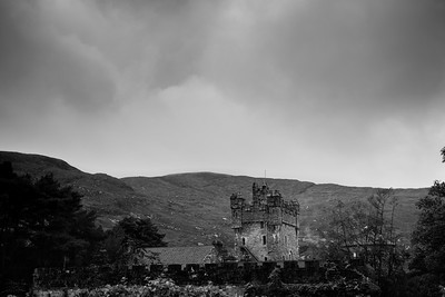 Black and White image of Glenveagh Castle, Donegal Ireland.