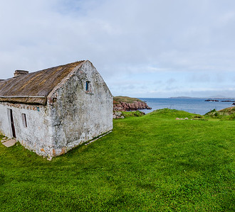 Traditional Irish Thatched houses on Cruit Island, Donegal.
