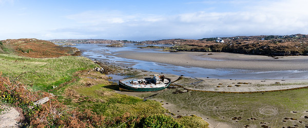 A ship wreck lying on the beach at Cruit Island, Donegal Ireland.