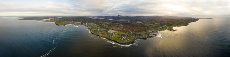 Aerial Panorama of Bundoran, rossnowlagh to Mullaghmore and the