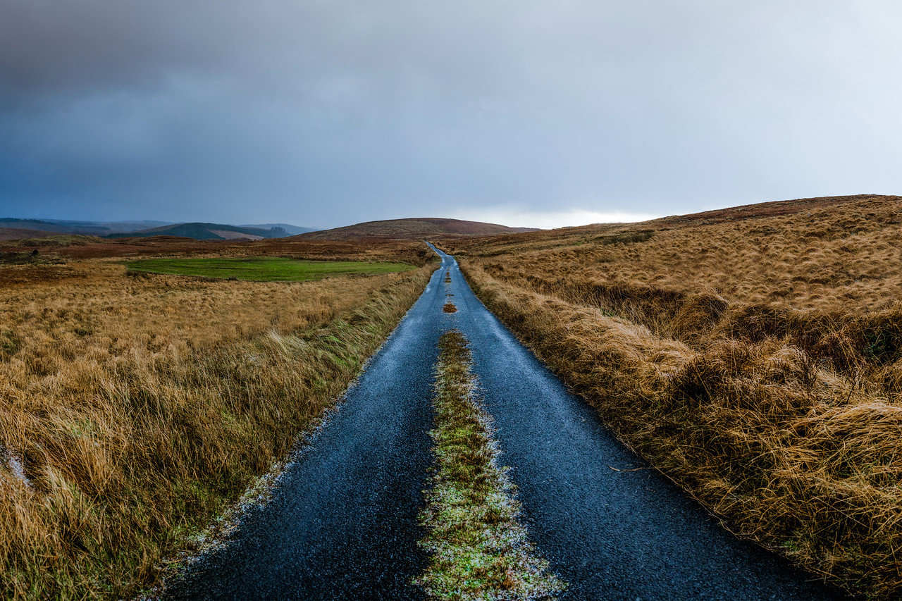 an empty road lane in the bluestack mountains.  Donegal, Ireland.