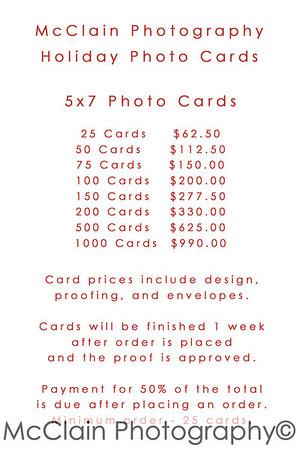 5x7 Photo Card Price Sheet