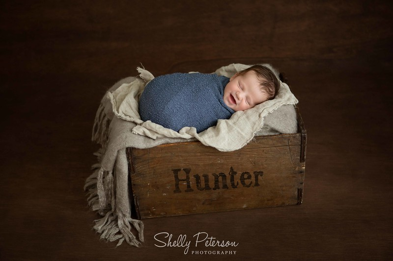 Tall Wooden Crate (with Child's Name added) on Plain Wood Background - Blue and Grey Color Palette<br /> For Babies up to 8 Weeks of age