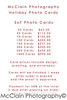 5x7 Photo Card Price Sheet