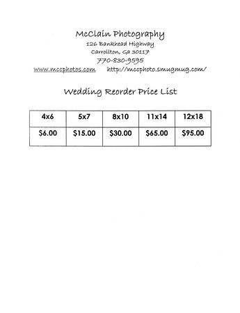 Wedding Reorder Price List