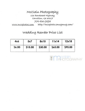 Wedding Price List