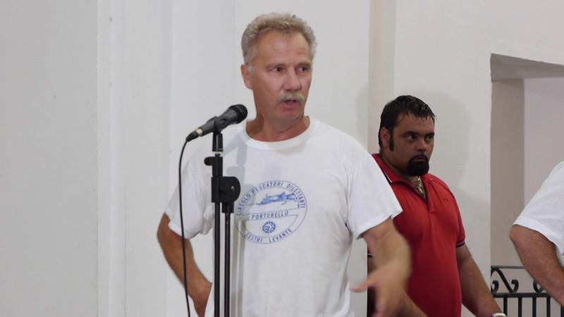 Il saluto del presidente del Circolo Pescatori Dilettanti Portobello