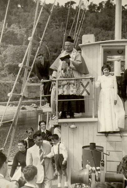 Sestri Levante: blessing of a new boat.<br /> <br /> Sestri Levante: la benedizione di una nuova barca.