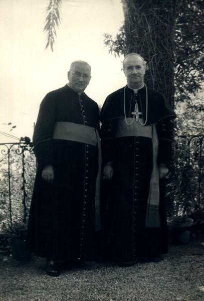 1953; cardinal Ottaviani with Sestri Levante's priest Trofello.<br /> <br /> 1953: il cardinale Ottaviani con l'allora parroco di Santa Maria di Nazareth mons. Trofello.