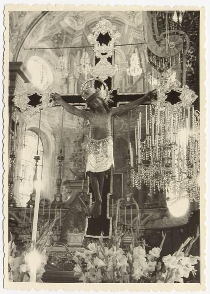 """The """"Santo Cristo"""" inside Santa Maria di Nazareth church in 1953.<br /> <br /> Il Santo Cristo nella chiesa di Santa Maria di Nazareth nel 1953."""