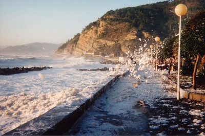 "In these exceptional images, a seastorm in Sestri Levante (Italy) produces huge quantities of foam that are blown on the street by the wind. So the white stuff is not snow but foam.  In queste immagini eccezionali, una mareggiata a Sestri Levante (dalla rotonda verso Sant'Anna, zona ex ""piscina"" attualmente occupata dal silos) produce enormi quantità di schiuma che copre tutto come se fosse neve."