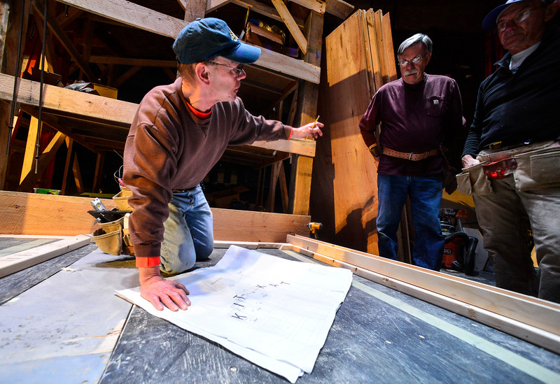 "KRISTOPHER RADDER — BRATTLEBORO REFORMER<br /> Chip O'Brien goes over the blueprints for the set of ""Cabaret, The Musical"" at The Bellows Falls Opera House on Thursday, Feb. 13, 2020."