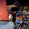 "KRISTOPHER RADDER — BRATTLEBORO REFORMER<br /> Bill Doran works on edging for the set of ""Cabaret, The Musical"" at The Bellows Falls Opera House on Thursday, Feb. 13, 2020."