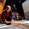 "KRISTOPHER RADDER — BRATTLEBORO REFORMER<br /> Workers build ""Cabaret, The Musical"" set at The Bellows Falls Opera House on Thursday, Feb. 13, 2020. The show is set to open on Friday, March 13, 2020."