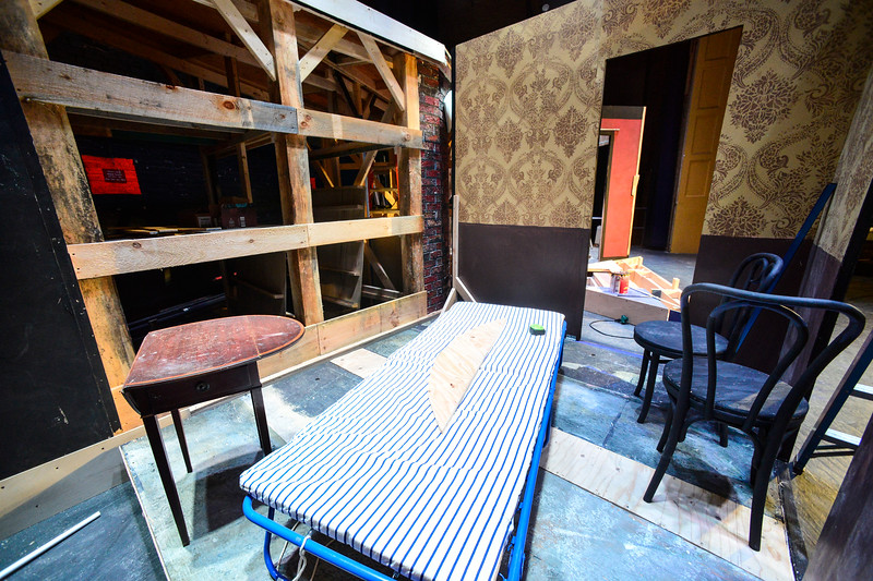 """KRISTOPHER RADDER — BRATTLEBORO REFORMER<br /> Workers build """"Cabaret, The Musical"""" set at The Bellows Falls Opera House on Thursday, Feb. 13, 2020. The show is set to open on Friday, March 13, 2020."""