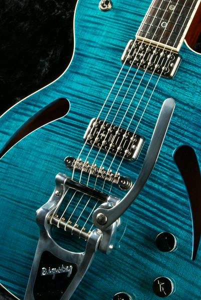 HollowTron Set Neck, #ST-0214 Trans Turquoise, TV Jones Classic Filtertrons, Bigsby