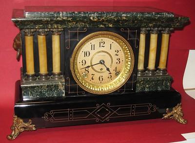Seth Thomas Green and Black Adamantine Mantel Clock with Ding Dong Strike