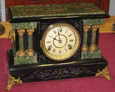 Seth Thomas Green and Black Adamantine Mantel Clock