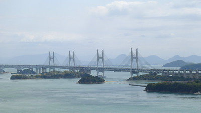 Hitsuishijima Bridge and Iwakurojima Bridge  - Two identical cable-stayed bridges with centre spans of 420 metres