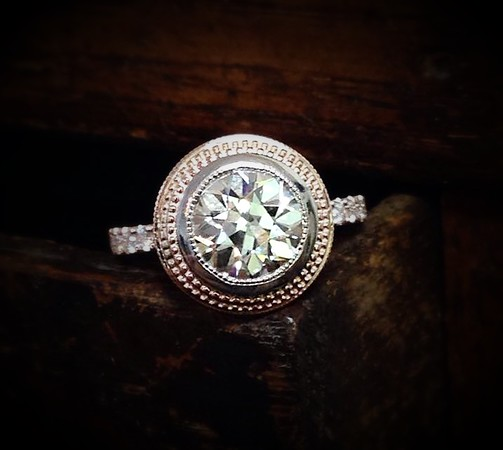 "2.32ct Old European Cut Diamond in Sholdt ""Beehive"" Setting"
