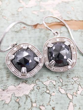5.29ctw Black Rose Cut Diamonds in Sholdt Earrings