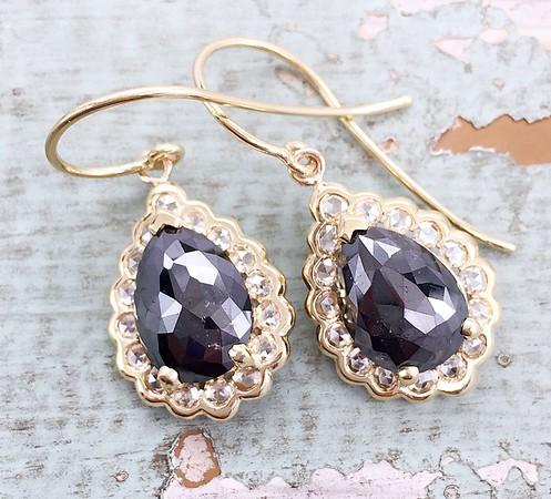 5.11ct Black Rose Cut Diamonds in Sholdt Halo Earrings