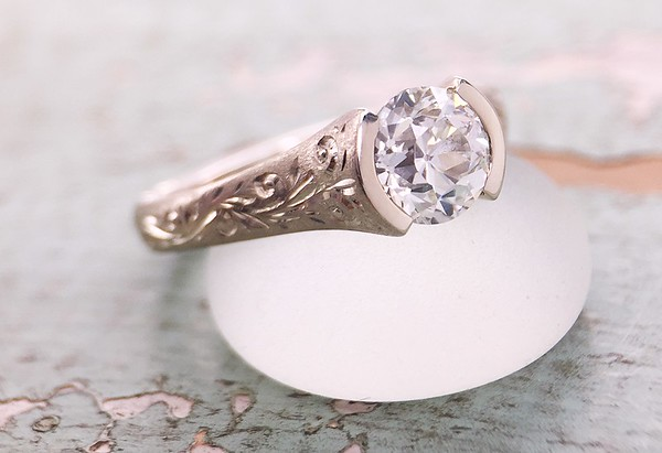 R379 - Shown with a 1.05ct Old European Cut Diamond in Unplated 18k White Gold, Fully Engraved