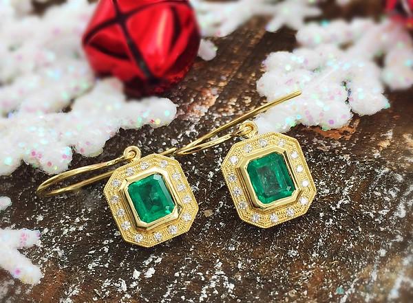 Sholdt Fern Finish Emerald Earrings