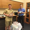 Adam Chister (left), 18, of Townsend working to produce comfort pillows for cancer patients at Dana Farber Cancer Institute for his Eagle Scout project earlier this year. Adam and his twin brother Benjamin last weekend became the sixth and seventh Chidester brothers to achieve the rank of Eagle Scout (Photo courtesy of Laura Chidester)