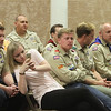 Twin brothers Adam and Benjamin Chidester, of Townsend, are awarded the rank of Eagle Scout, folloing their five older brothers, at a ceremony at Littleton Chapel in Littleton. From row from left: siblings Brian Chidester, 28, of Brighton, Stephanie Chidester, 25, of Lehigh, Utah, Aaron, 20, and Kevin, 23, both at Brigham Young University-Idaho, Michael, 33, of Somerville, and Kimberly Burr, 30, of Miami. (SUN/Julia Malakie)