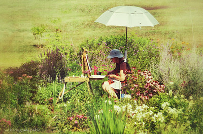 painting under the sun umbrella, gardens of West Barnstable...