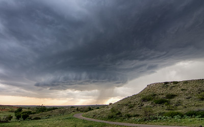 High base supercell, east of Four Ways, Texas.