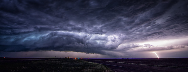Supercell storm at night, near Springfield Colorado, June 2015