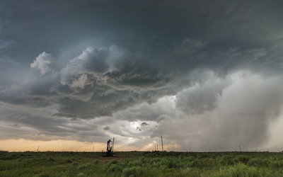 Hailing storm near Stinett, Texas.