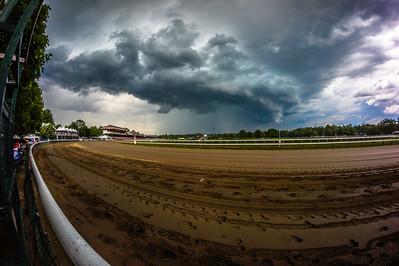 Shelf cloud over Saratoga Race Track