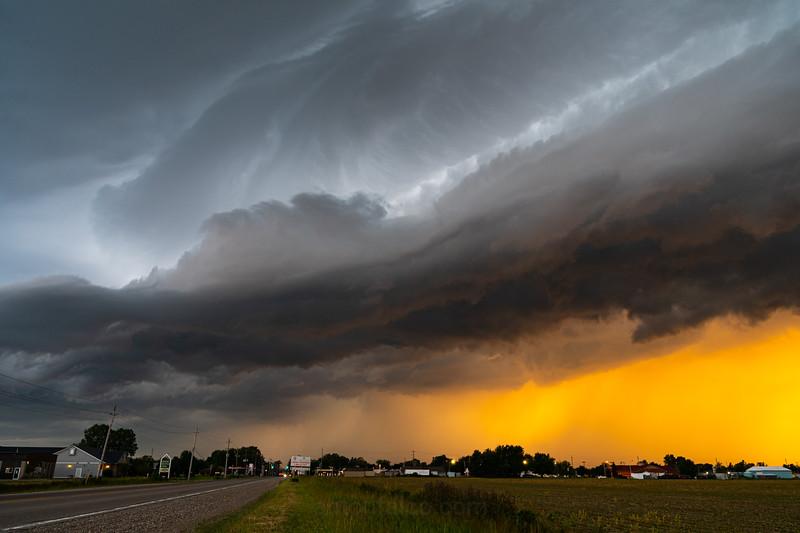 Sunset Shelf Cloud. June 29th, 2019. Wyoming, Ontario