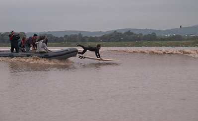 Sergio Laus launching from the RIB as he prepares to take on the Severn Bore.