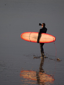 The next sequence of images portray numerous surfers as they make they way out over the mud flats to the water before arrival of the bore. This is a magical time in the morning when the sun is low in the sky (if I'm lucky) and light levels are perfect for capturing mood and atmosphere. I think this guy is known as Bendy and the colours in his board reflected perfectly on the shallow waters. Olympus E1, 90-250mm, F5.6, 1/800s.