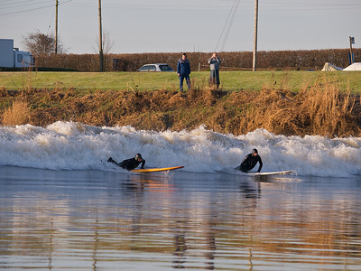 Steve King & another about to pick up the bore. Quite a tidy leading wave at this point. I wonder if those peeps on the bank got me in their snaps :) All photos captured with Olympus E3 and 12-60mm/50-200mm SWD lenses.