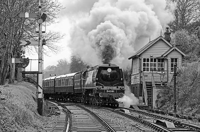 34081 passing Bewdley South signal box